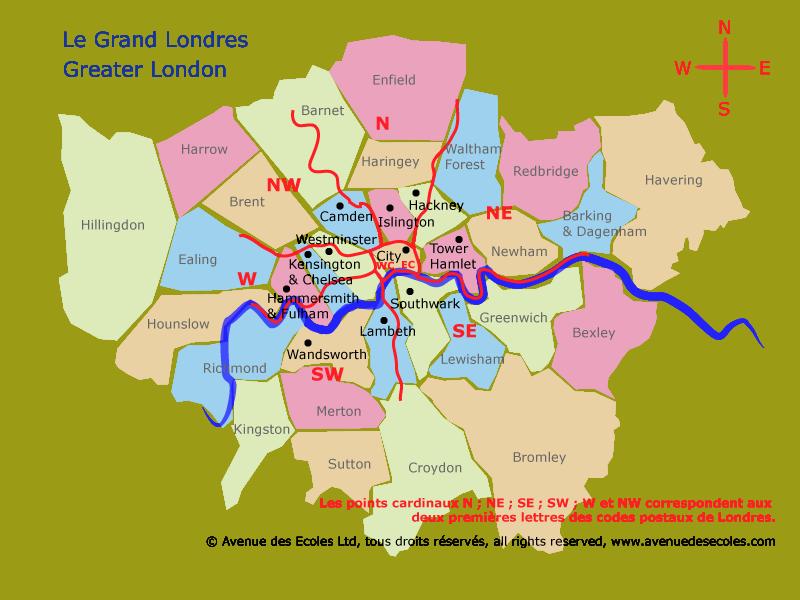 Carte de Londres et de ses quartiers